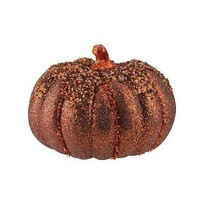 "6.5"" Autumn Copper and Orange Table Top Glittered Pumpkin - £12.88 GBP"