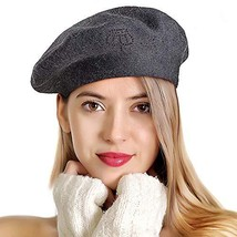 LADYBRO Beret Hats for Women Rhinestones 2 Layers Wool (Grey-black Rhine... - $27.71