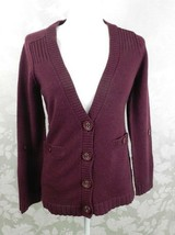 Relativity Cardigan Sweater Size M Wool Blend Burgundy Tab Sleeve - $14.84