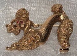 VINTAGE MONET Goldtone Playful FRENCH POODLE Puppy Dog BROOCH Pin Red Gl... - $20.19