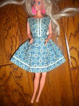"Vintage 1960's Blue White Floral Sleeveless A line Dress Fits 12"" Doll - $9.90"