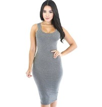 Women's Sexy Micro Fiber Bodycon Sleeveless Round Neck Gray Dress M Slim... - $10.30