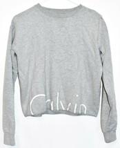 Calvin Klein Jeans Women's Gray Logo Crop Crew Neck Sweatshirt Size XS image 1