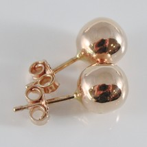 18K ROSE GOLD EARRINGS WITH BIG 8 MM BALLS BALL ROUND SPHERE, MADE IN ITALY image 2