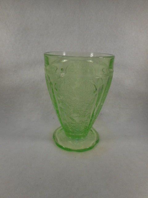 Vintage Jeanette Glass Cherry Blossom Green Depression Glass Sherbert