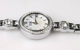 New Badgley Mischka Silver Crystal Accented Pearl Face Dress/Formal Watch NIB image 5