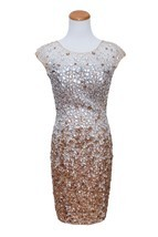 JOVANI BEIGE WOMEN ELEGANT SEQUINS DRESS SIZE SMALL - $7.394,52 MXN