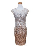 JOVANI BEIGE WOMEN ELEGANT SEQUINS DRESS SIZE SMALL - $7.663,95 MXN
