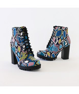 chalet snakeprint lace up lug sole ankle boots booties - $34.99