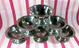 Darling 1950's GEMCO Sherbet Sundae Dessert Pedestal Cup 6pc Set Stainle... - $16.00