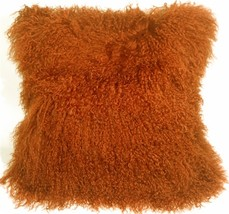 Pillow Decor - Mongolian Sheepskin Burnt Orange Throw Pillow - $74.95