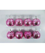 Pink Mosaic Glass Round Ornaments Christmas Name Place Card Holders Set ... - $30.02