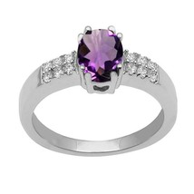 Amethyst & White Topaz Gemstone Solitaire Accents 925 Sterling Silver Ring - $19.60