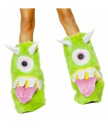 J Valentine Faux Fur Green One-Eyed Monster Legwarmers Costume Accessory... - $34.99