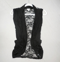 Black Lace Back Vest, Black Open Front Vest, Lightweight Rayon Layering