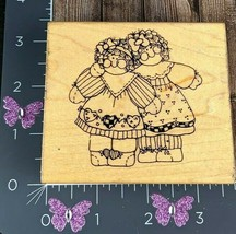 Dots Sister Act Too! Country Dolls Rubber Stamp Rag Stitched Q159 #I23 - $3.47