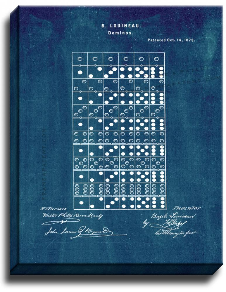 Primary image for Dominoes Patent Print Midnight Blue on Canvas