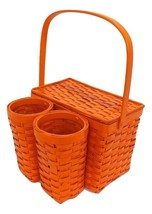 Orange Wicker Picnic Basket Wine Bottle Carrier Caddy Tote Vintage Storage - $40.00