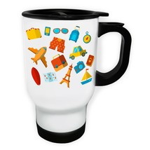 New Summer Travel Elements White/Steel Travel 14oz Mug l814t - $17.79