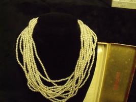 "Vintage Marvella 12 Strand White Faux Pearl Beads 15"" Choker W / Original Box - $27.72"