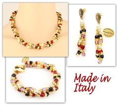 Authentic Italian Made Venetian Murano Jewelry Set: Necklace Earrings Bracelet - $242.10