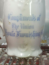"""ANTIQUE PORCELAIN PITCHER ADVERTISING """"Compliments of the Union Soule Furnishing image 2"""