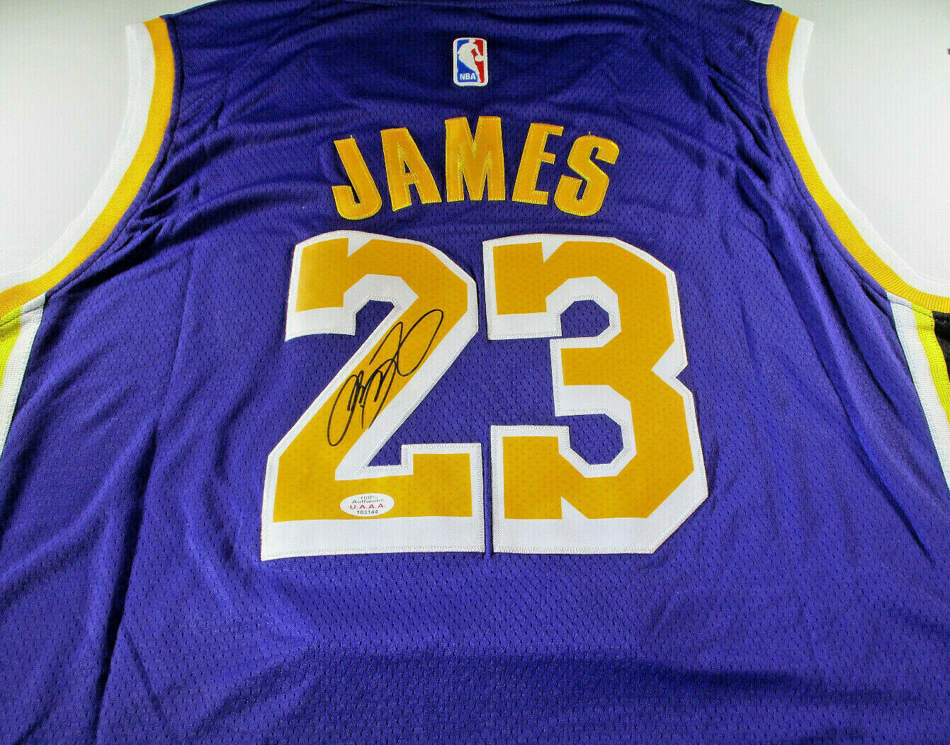 LEBRON JAMES / AUTOGRAPHED LOS ANGELES LAKERS PRO STYLE BASKETBALL ...