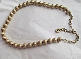 "VTG  Coro Gold Tone Bead Choker Necklace Signed Up To 16"" Adjustable - $14.84"