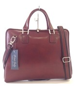 NWT Made In Italy  Leather Laptop Case Briefcase In Mahogany Brown - $126.67