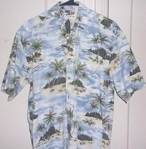 369388778 Pierre Cardin Mens Medium Button Front Short Sleeve 100% Cotton Hawaiian...  -