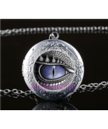Blue Dragon Eye Cabochon LOCKET Pendant Silver Chain Necklace USA Ship #163 - $15.00