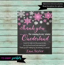 Snowflakes Winter ONEDERLAND ~ Any Color ~ Birthday Party Thank You Note... - $1.10
