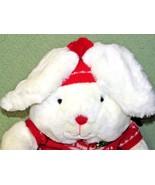 "1987 MERVYN'S 13"" BUNNY RABBIT Vintage White Red Snowflake Sweater Plush... - $32.73"