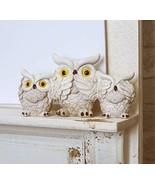Ebros Cream Colored See Hear Speak No Evil Wise Fat Owls Figurine Decor ... - €17,60 EUR