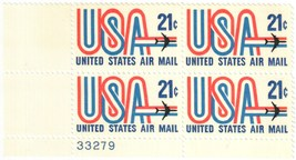1971 USA and Jet Plate Block of 4 US Airmail Stamps Catalog Number C81 MNH