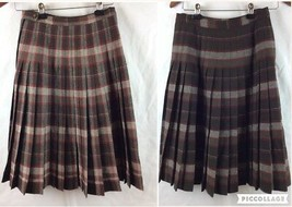 VTG Pendleton Turnabout Skirt S/M Brown Plaid Wool Reversible Pleated 1950s - $49.49