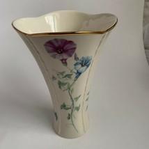 Lenox Morningside Cottage Flared Vase Fine China 24K Gold Trim Gift Spring - $17.81