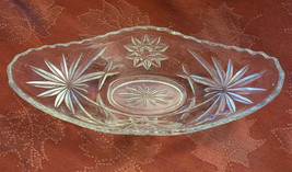 Vintage Anchor Hocking Clear Prescut Glass Boat Dish, EAPG, Star David Pattern