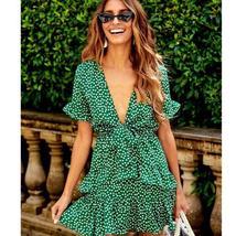 Women's Green and White Floral Deep V Neck Mini Sundress