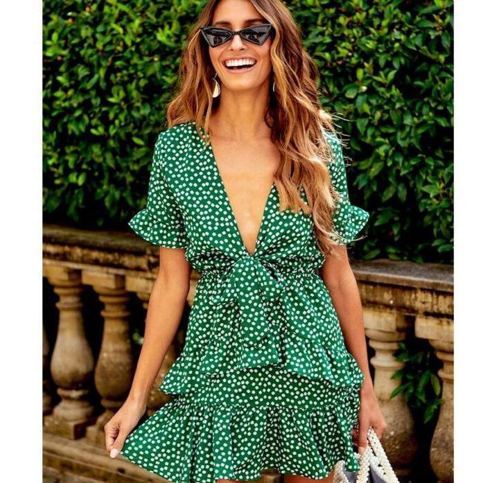 Ida women boho floral mini dress ladies summer ruffles sleeveless wrap short sundress beach wear