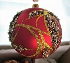 "FIRMA BILINSKI Poland GLASS ORNAMENTS Glittery Pearls Beads 4"" SET 4 - G... - $36.76"
