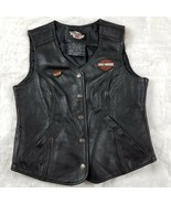 HARLEY DAVIDSON Leather Vest Black Snap-Front Motorcycle Embroidered Patch & Pin - $149.60