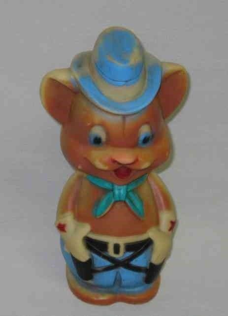 "CUTE Vintage 1965 8"" Reliance RUBBER Squeeze BEAR Toy"