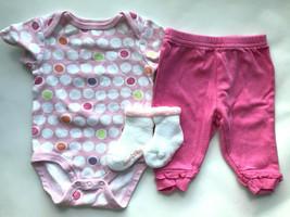 Girl's Size 3M 0-3 Months Two Piece Pink Polka Dot Circo Top, Ruffled Pa... - $12.00