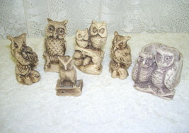 Owl Figures Lot of Six Made of Stone - $25.23