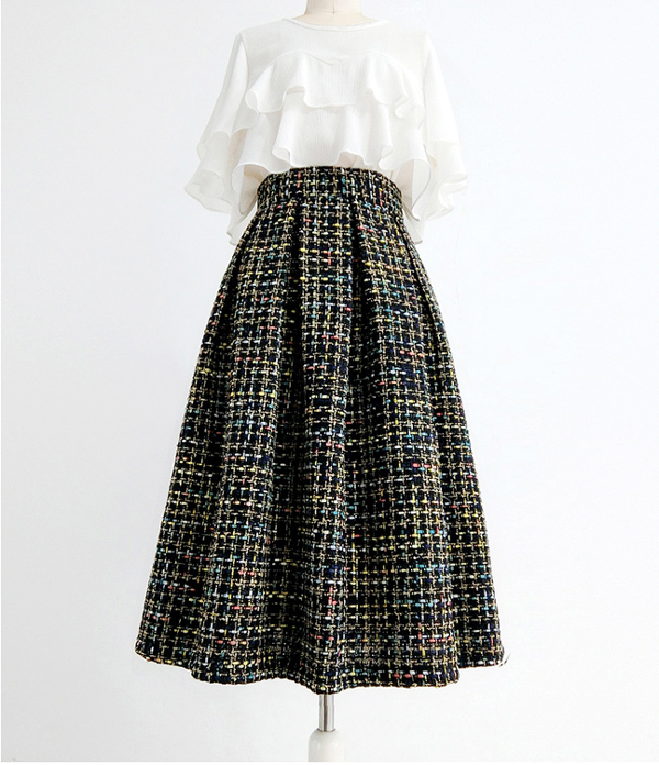 Black Tweed Midi Party Skirt Women A-line High Waist Pleated Tweed Skirt