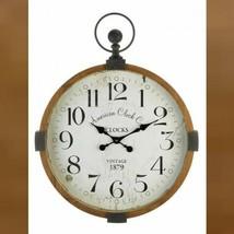 Large Round Wall Clock 30in Rustic Vintage Style Industrial Wood Metal - $85.14