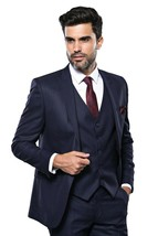 Men Three Piece Vested Suit WESSI by J.VALINTIN Extra Slim Fit JV23 Navy... - $99.97