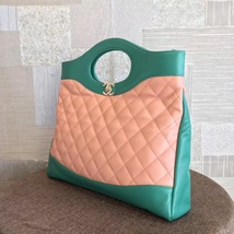 NEW AUTH CHANEL 2019 RUNWAY QUILTED LAMBSKIN 2-WAY SHOPPING BAG PINK TURQUOISE  image 2
