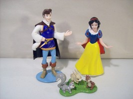Nwob 3 Disney Store Princess Snow White Pvc Figures Prince Charming Animals - $13.92